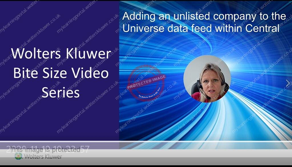 CCH CGT & Dividend Scheduling: Add an unlisted company to the Universe data feed within Central